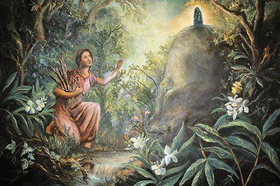 Illustration de la découverte de la vierge de Los Angeles