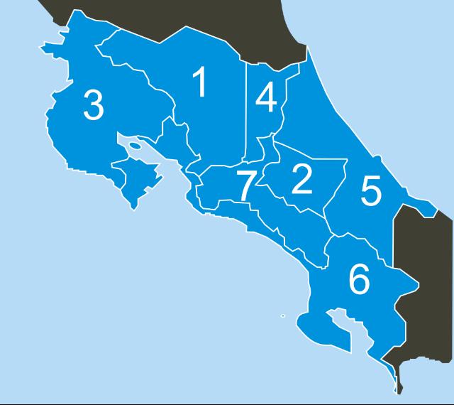 Carte des Provinces du Costa Rica