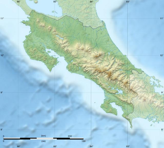 Carte topographique du Costa Rica