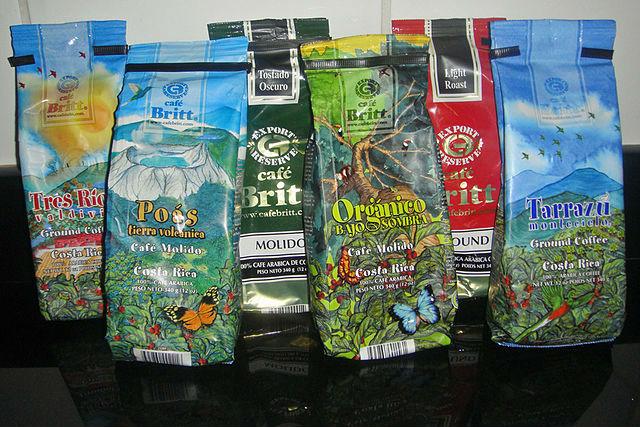 Paquets de café produit au Costa Rica