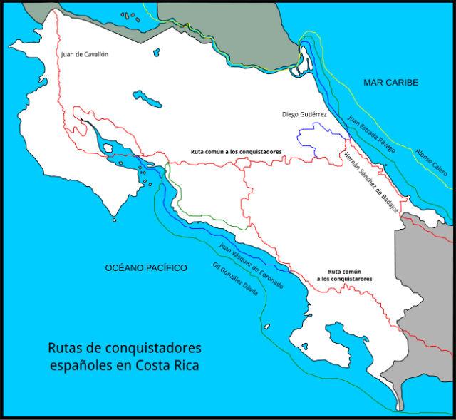 Routes des explorations des conquistadors espagnols au Costa Rica