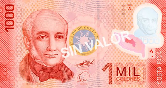Billet de1000 colones recto Costa Rica