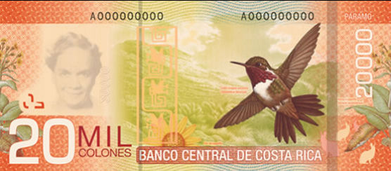 Billet 20000 colones verso Costa Rica