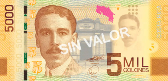 Billet 5000 colones recto Costa Rica