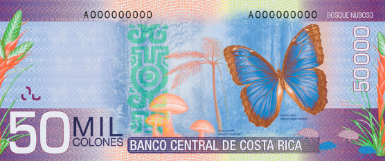 Billet 50000 colones verso Costa Rica