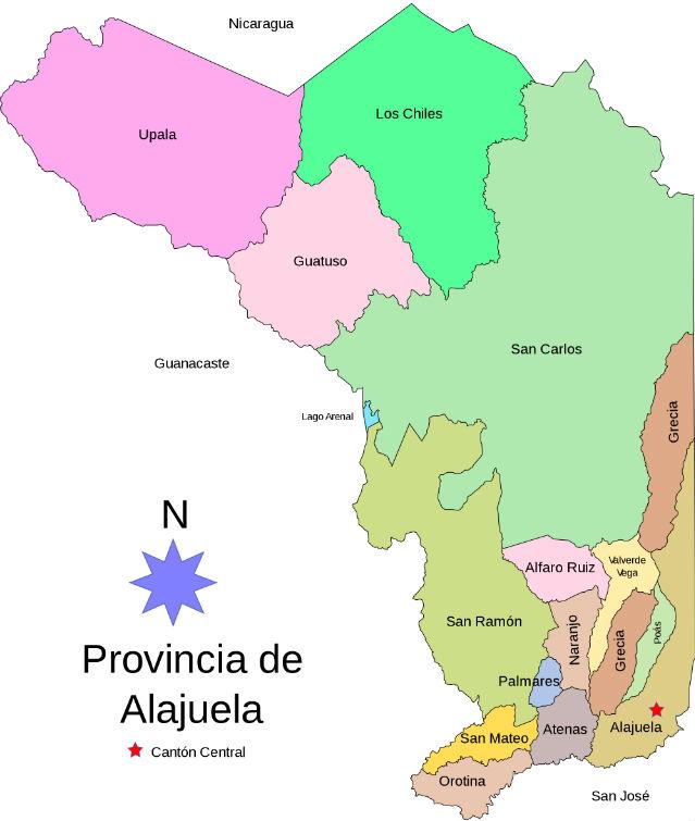 Carte des cantons de la Province d'Alajuela au Costa Rica