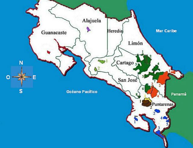 Carte des réserves indigènes du Costa Rica