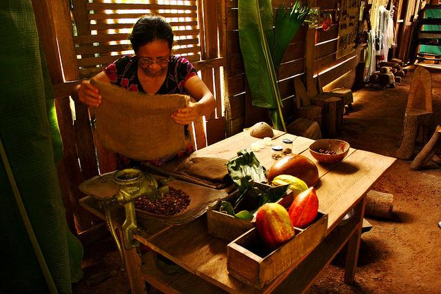 Photo travail du cacao par une femme du peuple Bribri du Costa Rica