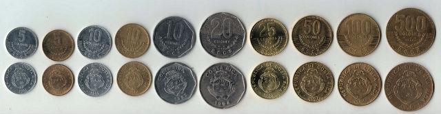 Les pièces de monnaie du Costa Rica