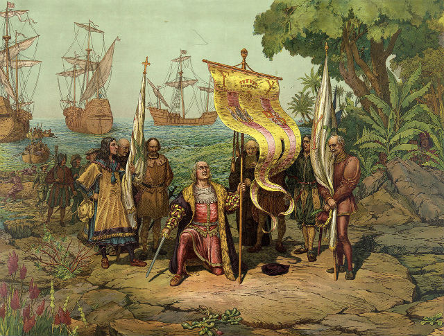 Gravure de la Decouverte Amerique Christophe Colomb