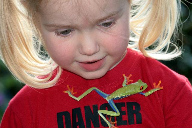 Petite fille avec une grenouille aux yeux rouges